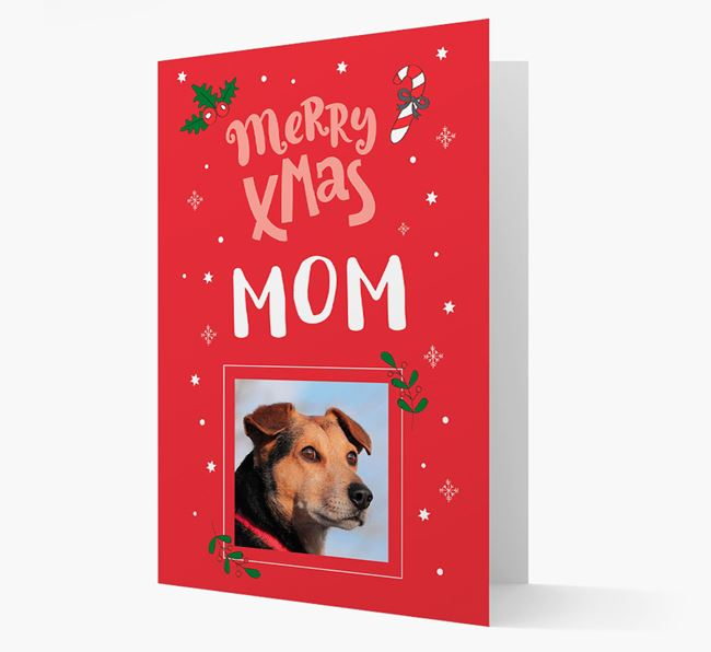 'Merry Xmas Mom' - Bearded Collie Photo Upload Christmas Card