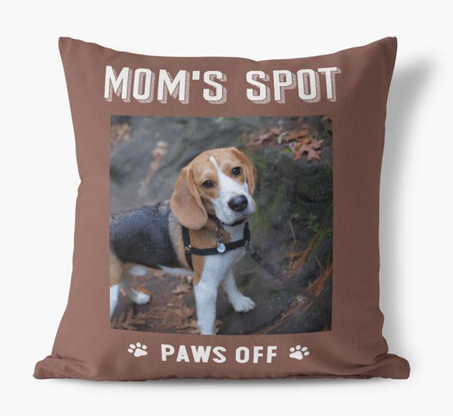 'Mom's Spot, Paws Off' - Beagle Photo Upload Pillow