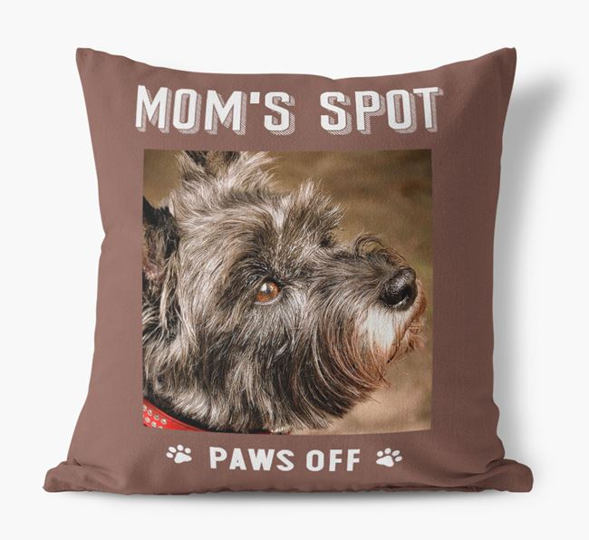 'Mom's Spot, Paws Off' - Cairn Terrier Photo Upload Pillow