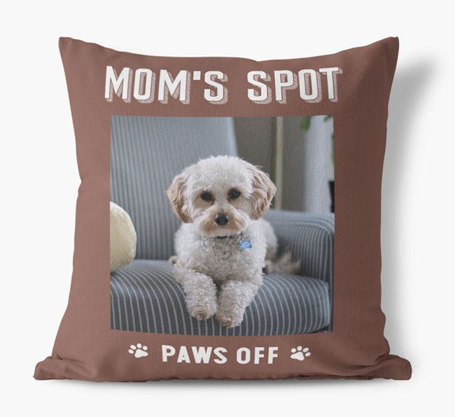 'Mom's Spot, Paws Off' - Cavapoo Photo Upload Pillow