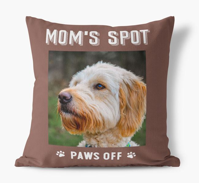 'Mom's Spot, Paws Off' - Goldendoodle Photo Upload Pillow