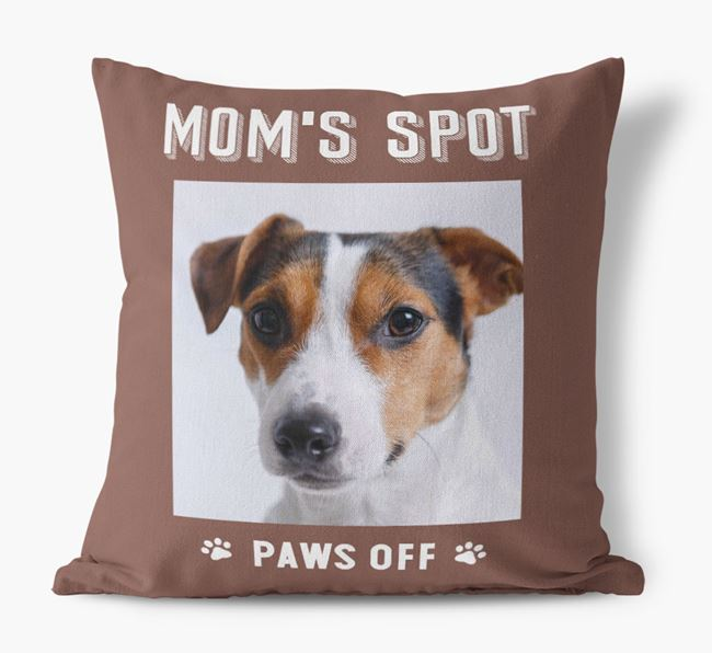 'Mom's Spot, Paws Off' - Jack Russell Terrier Photo Upload Pillow