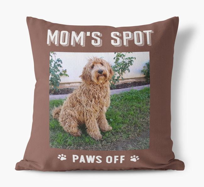 'Mom's Spot, Paws Off' - Labradoodle Photo Upload Pillow