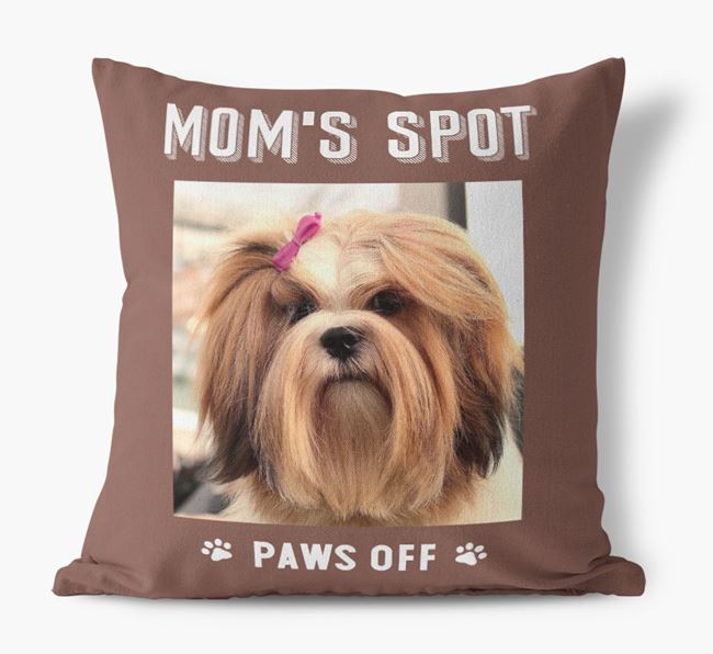 'Mom's Spot, Paws Off' - Lhasa Apso Photo Upload Pillow