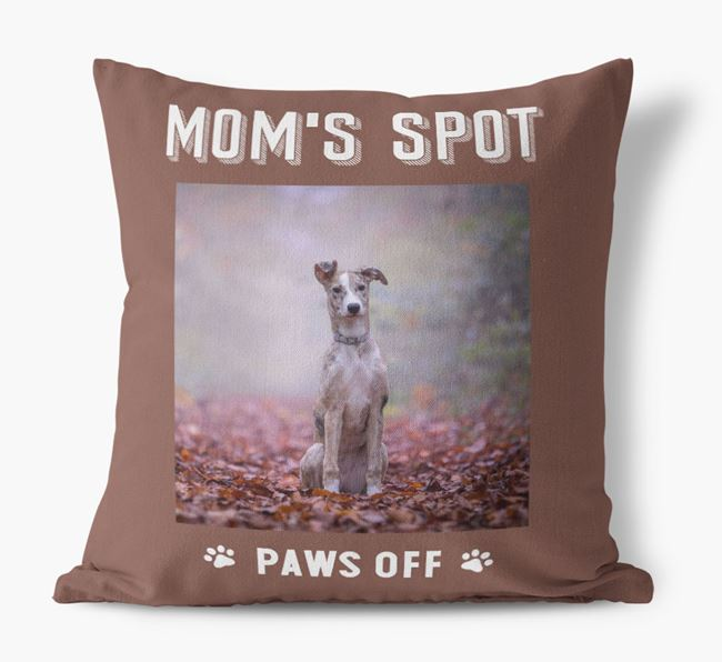 'Mom's Spot, Paws Off' - Lurcher Photo Upload Pillow