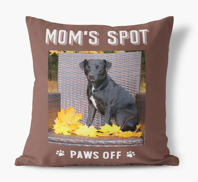 'Mom's Spot, Paws Off' - Patterdale Terrier Photo Upload Pillow