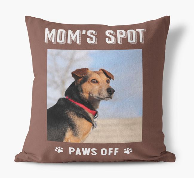 'Mom's Spot, Paws Off' - Puggle Photo Upload Pillow