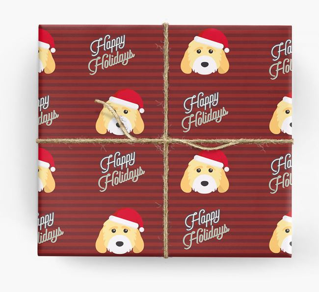 'Happy Holidays' - Personalised Cockapoo Wrapping Paper