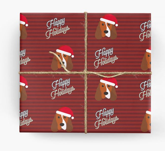 'Happy Holidays' - Personalised Cocker Spaniel Wrapping Paper