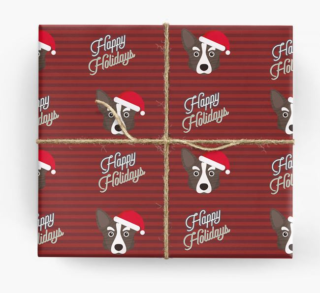 'Happy Holidays' - Personalised Corgi Wrapping Paper