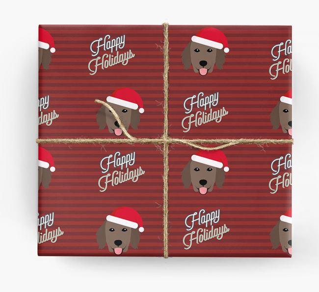 'Happy Holidays' - Personalized Flat-Coated Retriever Wrapping Paper