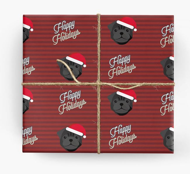'Happy Holidays' - Personalised Pug Wrapping Paper