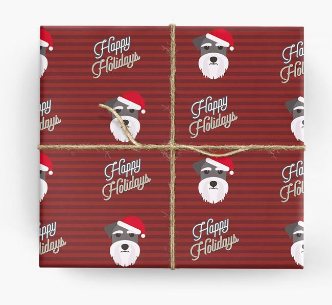 'Happy Holidays' - Personalised Schnauzer Wrapping Paper