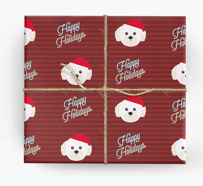 'Happy Holidays' - Personalised Shih Tzu Wrapping Paper