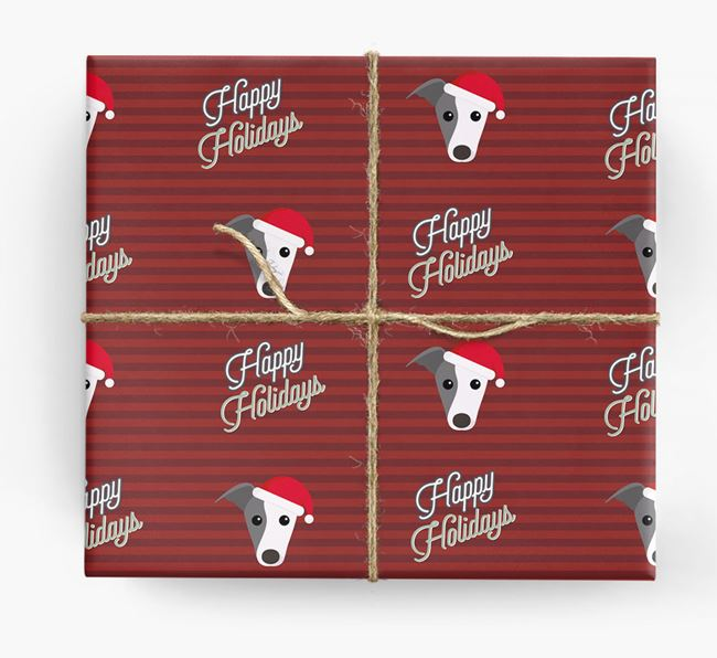'Happy Holidays' - Personalized Whippet Wrapping Paper