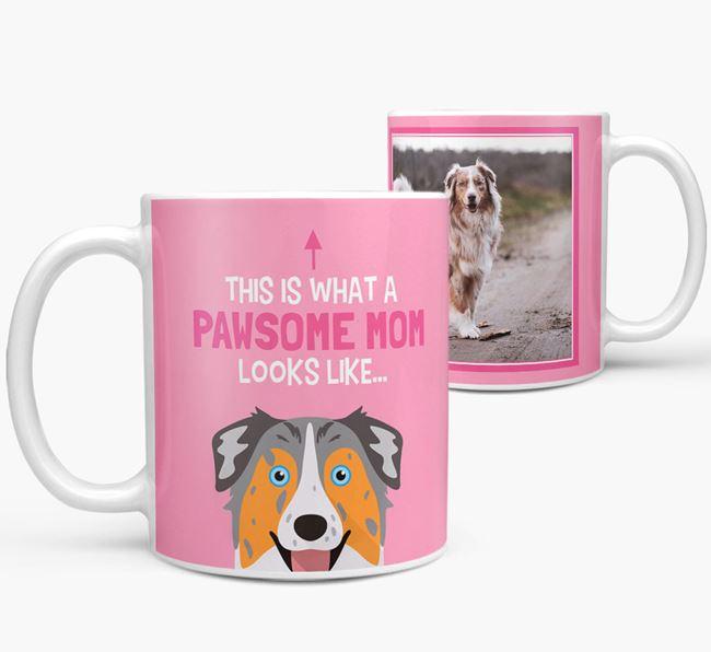 'Pawsome Mom' - Personalized Australian Shepherd Mug