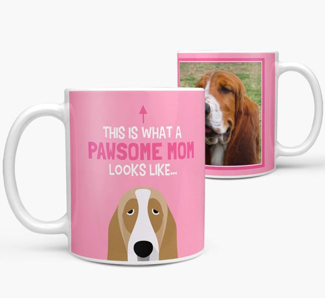 'Pawsome Mom' - Personalized Basset Hound Mug
