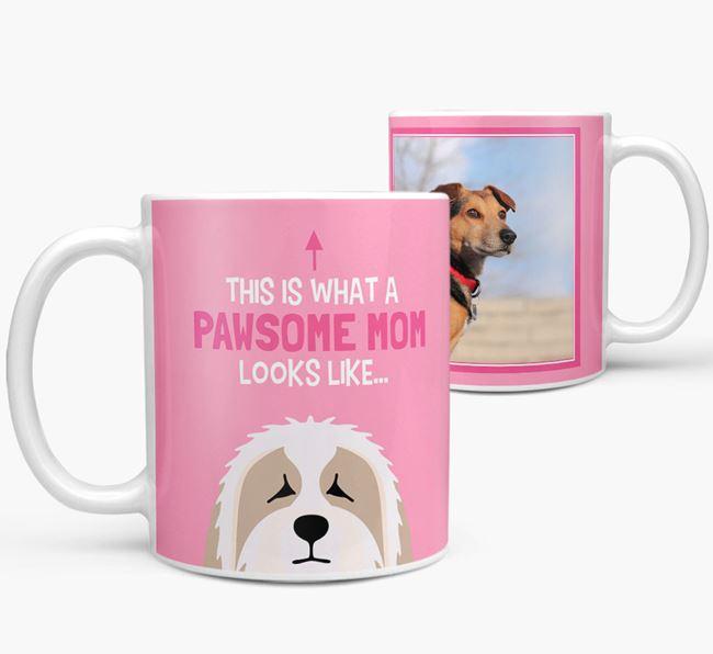 'Pawsome Mom' - Personalized Bearded Collie Mug