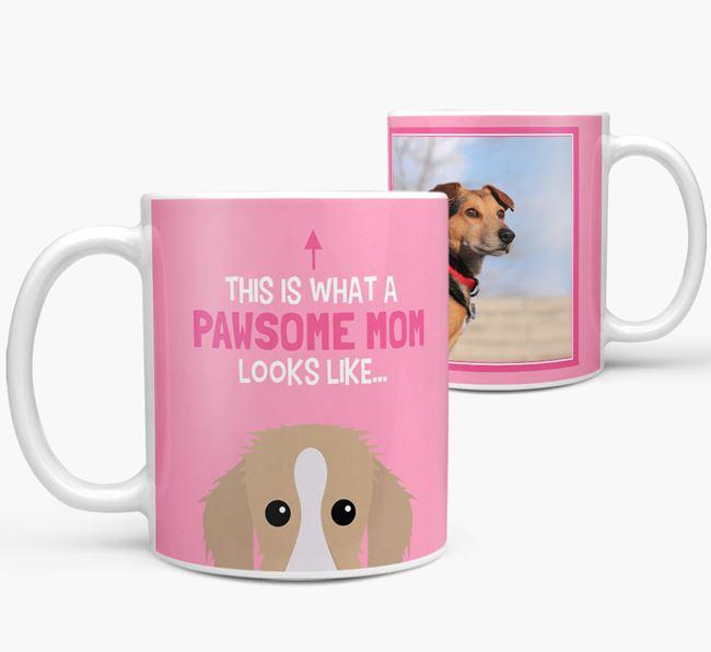 'Pawsome Mom' - Personalized Bedlington Whippet Mug