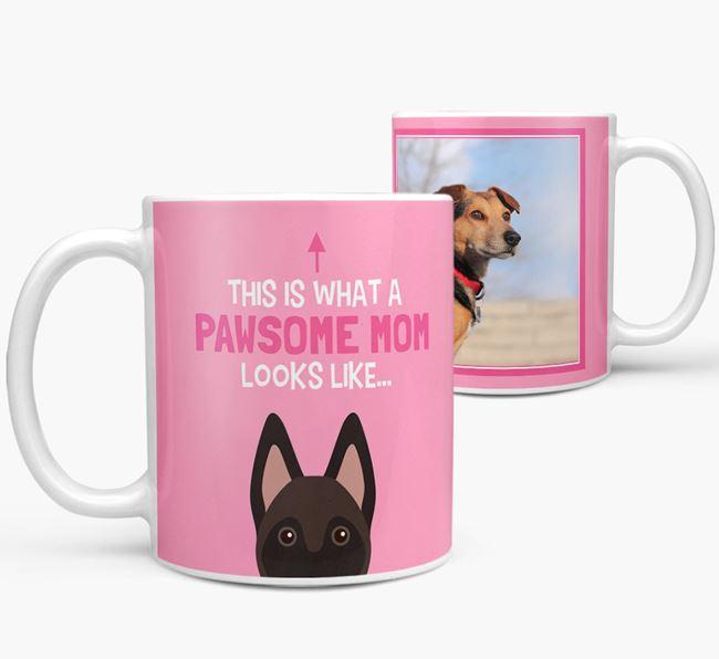 'Pawsome Mom' - Personalized Belgian Malinois Mug
