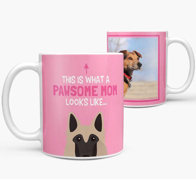 'Pawsome Mom' - Personalized Belgian Tervuren Mug