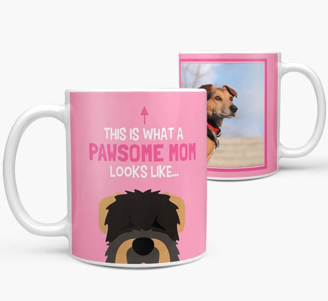 'Pawsome Mom' - Personalized Black Russian Terrier Mug