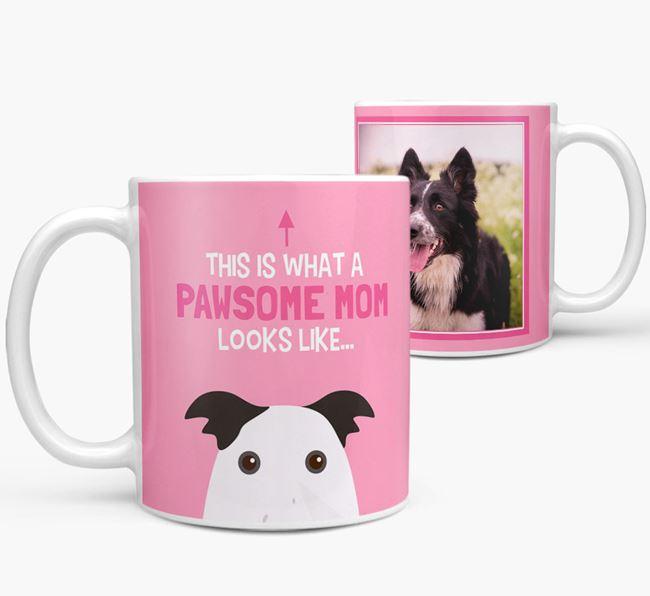'Pawsome Mom' - Personalized Border Collie Mug