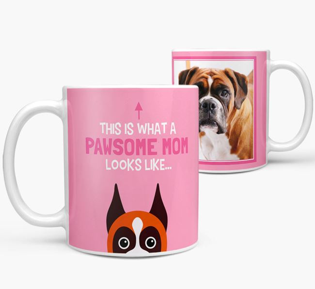 'Pawsome Mom' - Personalized Boxer Mug