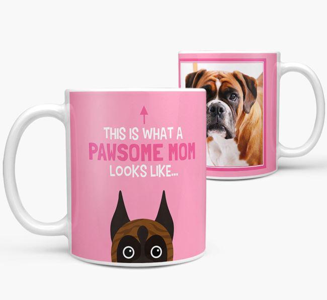 'Pawsome Mom' - Personalized Boxer Mug