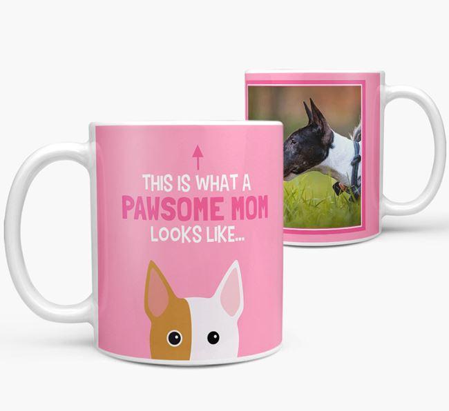 'Pawsome Mom' - Personalized Bull Terrier Mug