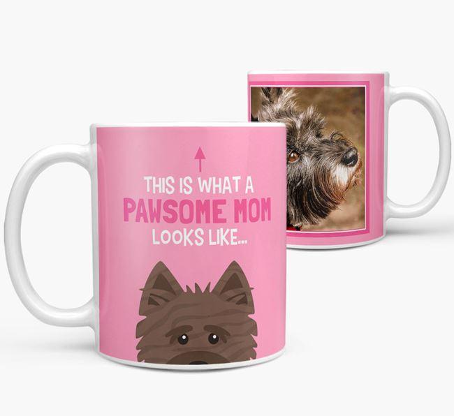'Pawsome Mom' - Personalized Cairn Terrier Mug