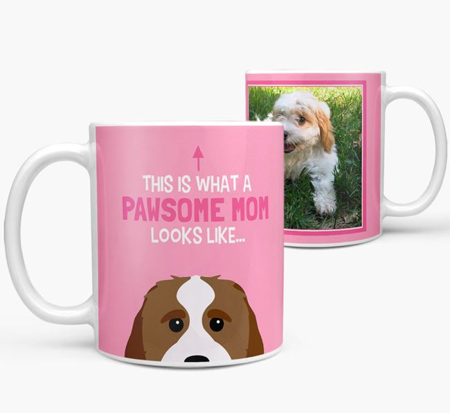 'Pawsome Mom' - Personalized Cavachon Mug