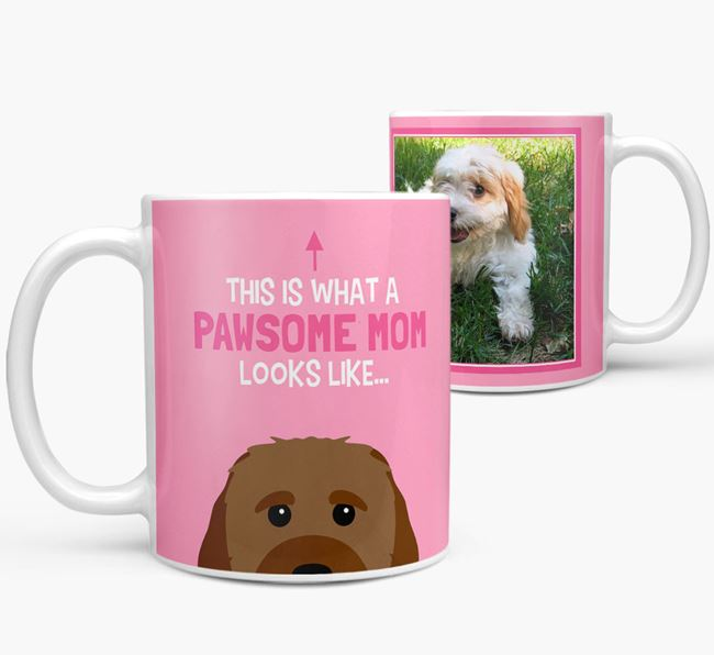 'Pawsome Mom' - Personalized Cavachon Mug