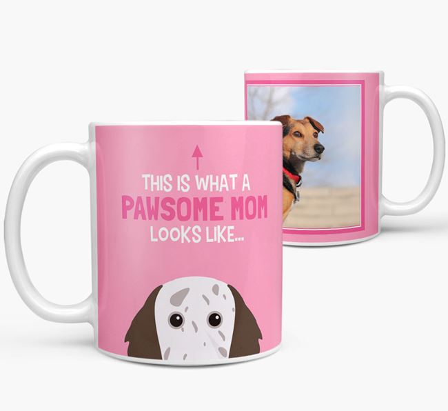 'Pawsome Mom' - Personalized English Setter Mug