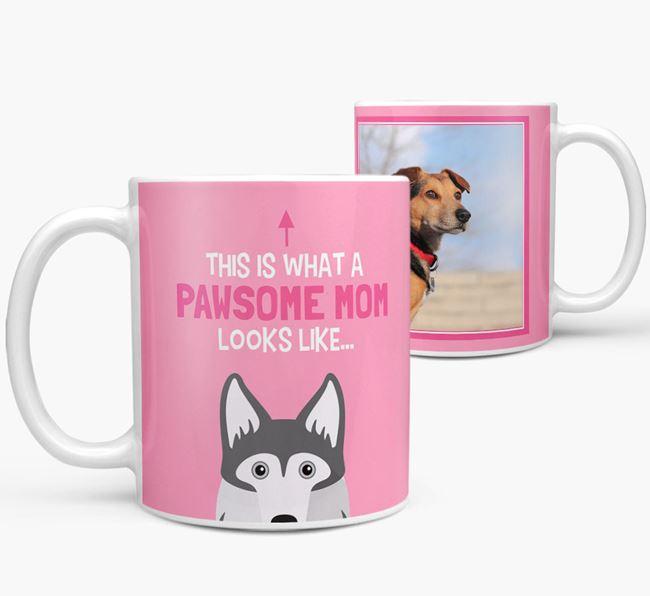 'Pawsome Mom' - Personalized Gerberian Shepsky Mug