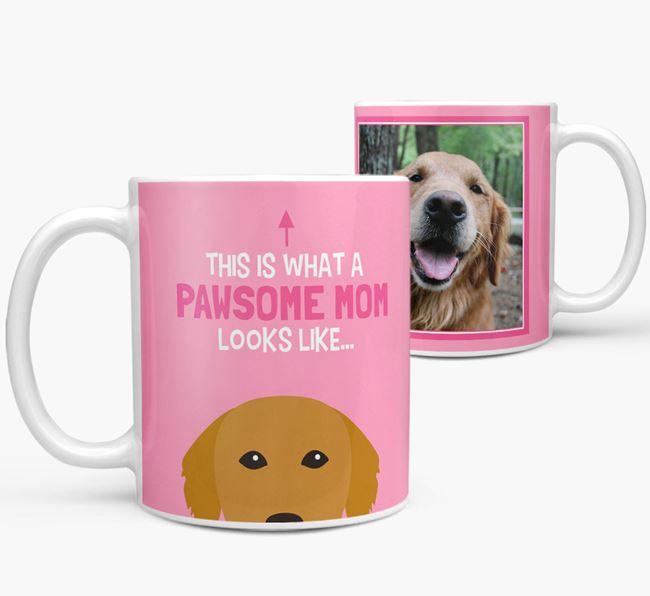 'Pawsome Mom' - Personalized Golden Retriever Mug