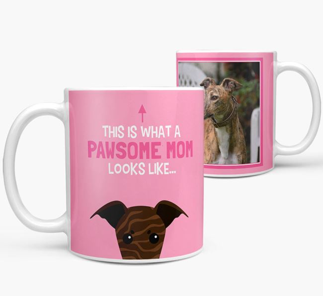 'Pawsome Mom' - Personalized Greyhound Mug
