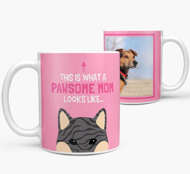 'Pawsome Mom' - Personalized Japanese Shiba Mug
