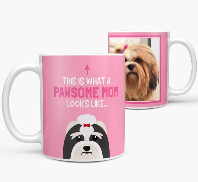 'Pawsome Mom' - Personalized Lhasa Apso Mug