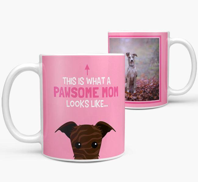 'Pawsome Mom' - Personalized Lurcher Mug