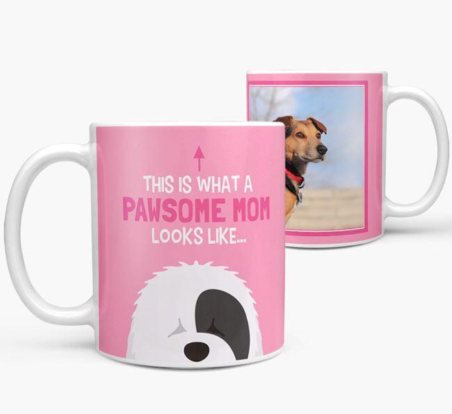 'Pawsome Mom' - Personalized Old English Sheepdog Mug