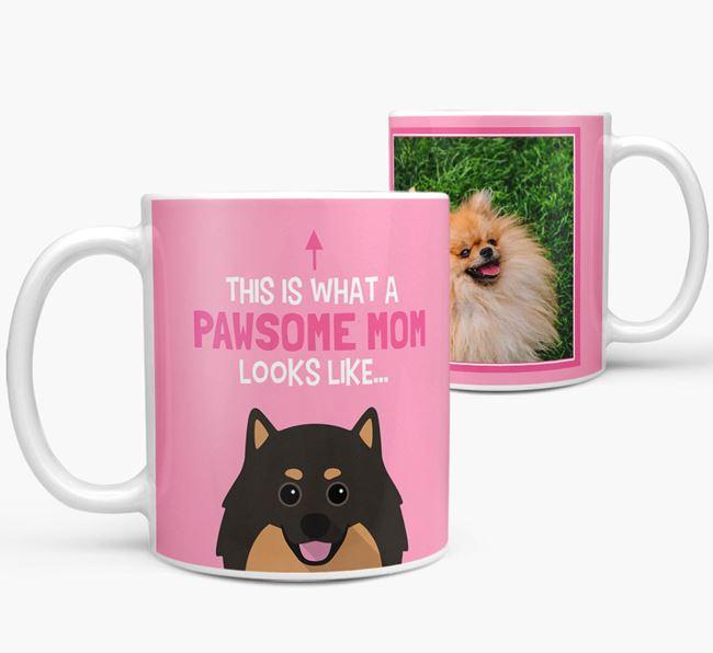 'Pawsome Mom' - Personalized Pomeranian Mug