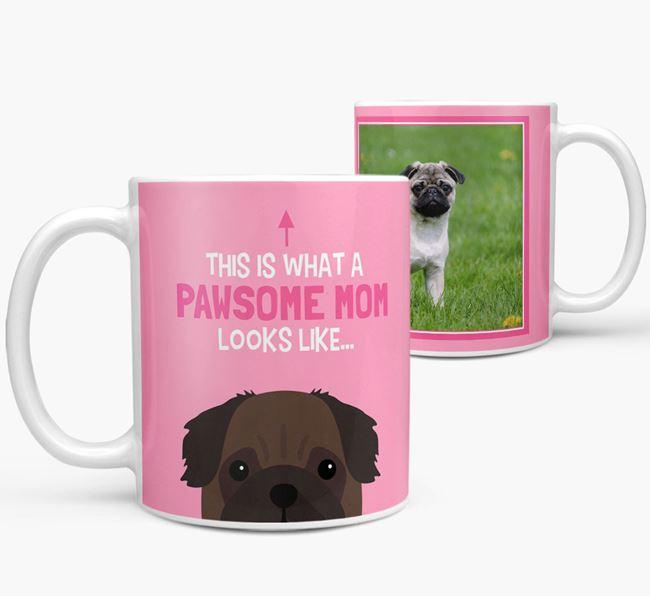 'Pawsome Mom' - Personalized Pug Mug