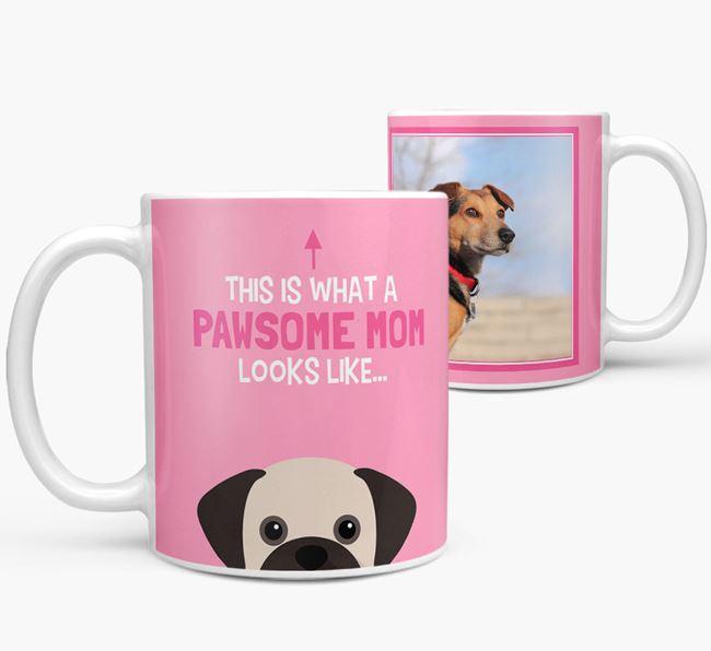 'Pawsome Mom' - Personalized Puggle Mug