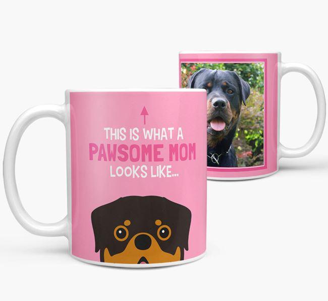 'Pawsome Mom' - Personalized Rottweiler Mug
