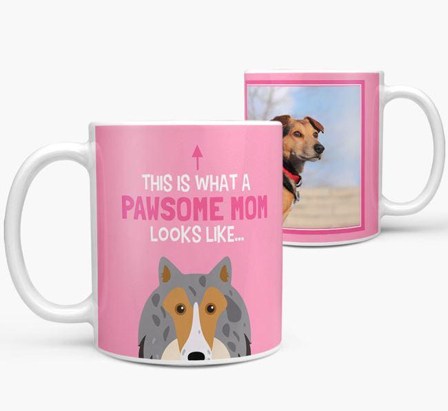 'Pawsome Mom' - Personalized Shetland Sheepdog Mug