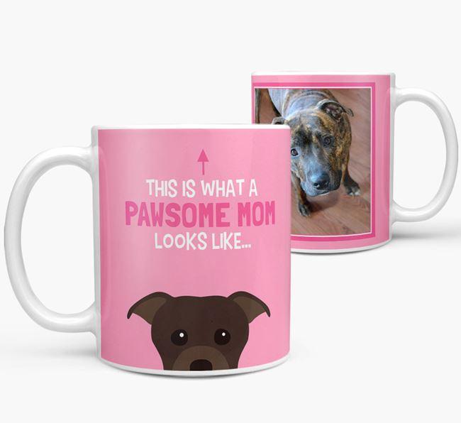 'Pawsome Mom' - Personalized Staffordshire Bull Terrier Mug
