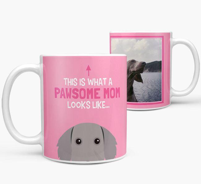'Pawsome Mom' - Personalized Weimaraner Mug