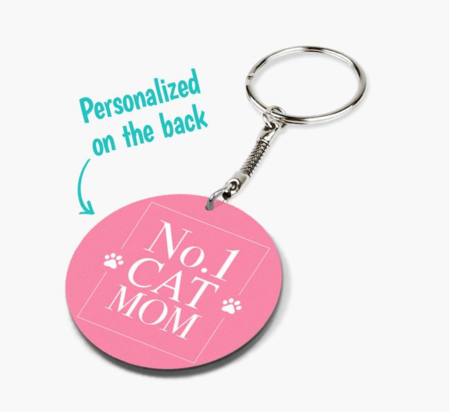 'No. 1 Cat Mom' - Double-sided Cat Keyring