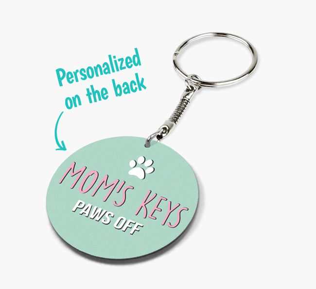 'Mom's Keys Paws Off' - Double-sided Siamese Keyring